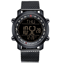 Naviforce Men Digital Stainless Steel Strap LED Pedometer Water Resistant Watch