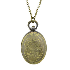 Egg Shape Carved Flower Pendant Pocket Watch with Metal Long Chain