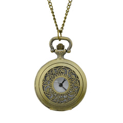 Fashion Hollow-out Leaf Pendant Pocket Watch with Metal Long Chain