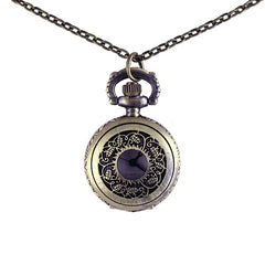 Engraved Flower Hollow-out Pocket Watch with Metal Chain
