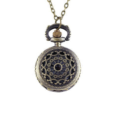 Fashion Cute Hollow-out Flower Small Digital Pocket Watch Necklace