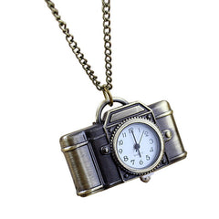 Fashion Alloy Camera Pendant Pocket Watch with Long Chain