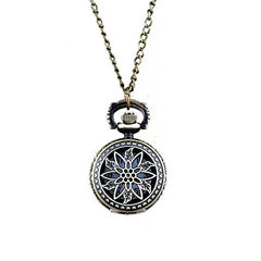 Fashion Hollow-out Leaf Flower Openable Pendant Pocket Watch