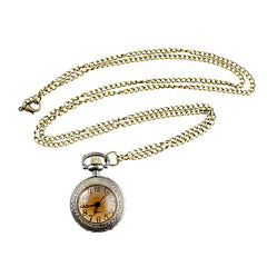 Carved Flower Pendant Pocket Watch with Metal Long Chain