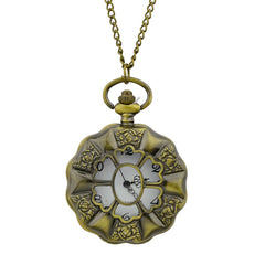 Beautiful Carved Flower Pendant Pocket Watch with Metal Long Chain