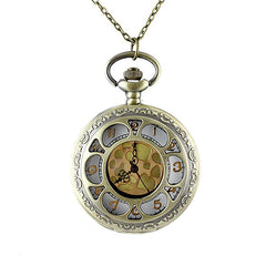 Carved Flower Hollow-out Pendant Pocket Watch with Metal Long Chain