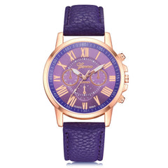 GENEVA Women PU Leather Belt with Double Face Quartz Watch