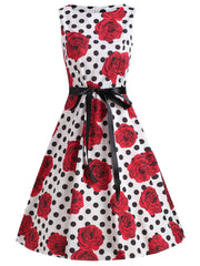 Floral Polka Dot Sleeveless A Line Dress