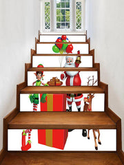 Father Christmas Deer Gift Printed Removable Stair Stickers
