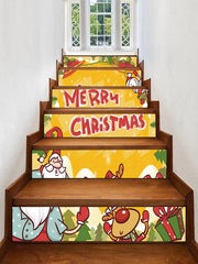 Merry Christmas Deer Gift Printed Removable Stair Stickers