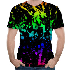Fashion Round Neck Men's Splash Ink Watercolor Printed Short-Sleeved T-Shirt