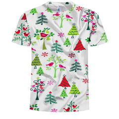 Casual Personality Men's Printed Small Tree Bird Pattern Short-Sleeved T-Shirt