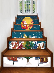 Father Christmas Tree Deer Removable Stair Stickers