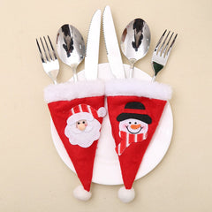 2Pcs Christmas Hat Knife And Fork Bags Suit