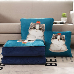 Crystal Velvet Multi-function Pillow Is Cartoon Printed Short Plush Thick Warm Dual-use Cushion