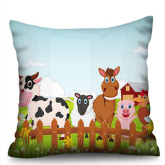 Chicken Pig Sheep Cow 3D Digital Printing Imitation Hemp Pillowcase Without Core