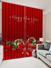 2PCS Christmas Candy Cane Printed Window Curtains