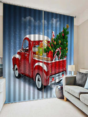 2PCS Christmas Gift Car Printed Window Curtains