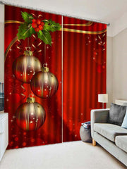 2PCS Christmas Ball Leaf Printed Window Curtains