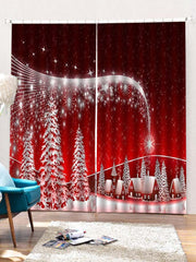 2PCS Christmas Star Printed Window Curtains