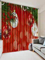 2PCS Christmas Ball Printed Window Curtains