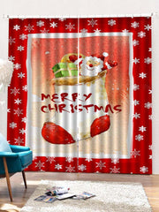 2PCS Merry Christmas Santa Claus Printed Window Curtains