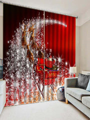 2PCS Father Christmas Deer Printed Window Curtains