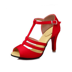 High Heel T Button Red Banquet Sandals