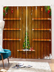 2PCS Christmas Tree Wooden Printed Window Curtains