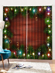 2PCS Christmas Decor Wooden Pattern Window Curtains