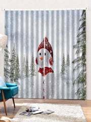 2PCS Christmas Snowman Printed Window Curtains