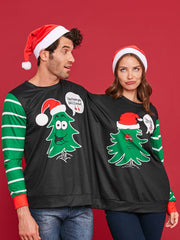 Two Person Christmas Tree Sweatshirt Pajamas