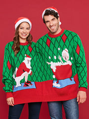 Funny Jacquard Two Person Christmas Sweater