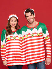 Two Person Christmas Long Sleeve Stripe T-shirt Pajamas