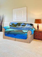 Ocean Turtle Island Pattern Couch Cover