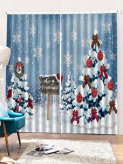 2PCS Merry Christmas Snowflake Tree Pattern Window Curtains