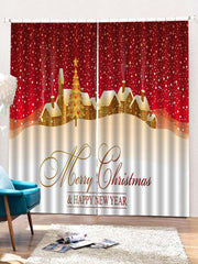 2PCS Merry Christmas Tree Pattern Window Curtains