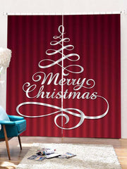 2PCS Merry Christmas Tree Window Curtains