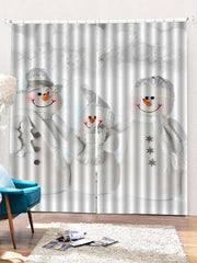 2PCS Christmas Snowman Family Pattern Window Curtains