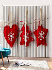 2PCS Christmas Snowflake Wooden Pattern Window Curtains