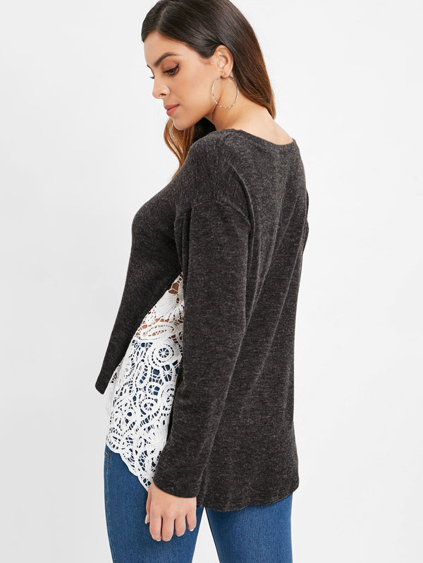 Lace Panel Pullover Sweater