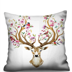 Antlers 3D Digital Printing Imitation Hemp Pillowcase Without Core