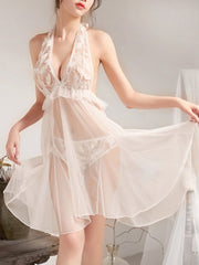 Halter Backless Feather Mesh Babydoll