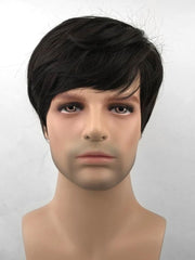 Oblique Bang Short Straight Synthetic Wig for Men