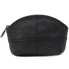 Genuine Leather Zippered Coin Purse for Students