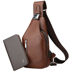 Carsonkangroo 9218 Practical Leather Man Chest Bag + Wallet Set