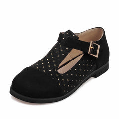 Low Heel Round Head Splicing T Type Buckle Women Shoes