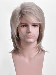 Short Side Bang Colormix Straight Synthetic Wig for Men