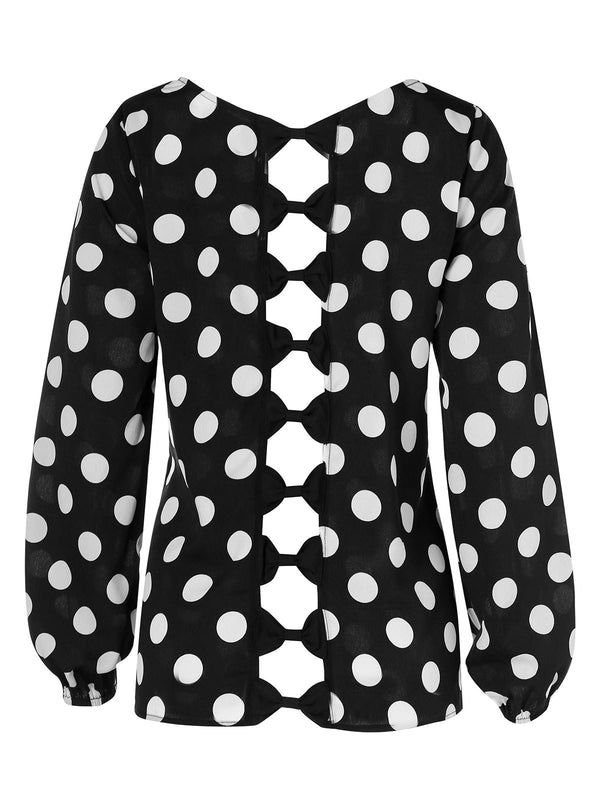 Plus Size Polka Dot Bowknot Cut Out Blouse