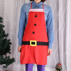 YEDUO Christmas Aprons Red Bib Waitress Fancy Dress Costumes